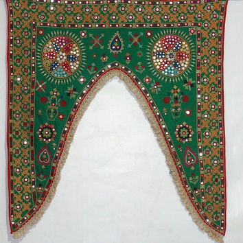 antique bohemian kutchi door valance tribal banjara door hanging indian mirror work door frame antique door topper