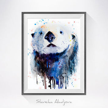 Sea Otter 2 watercolor painting print, Sea Otter art, animal watercolor, animals paintings, Otter illustration, animal painting,Otter art