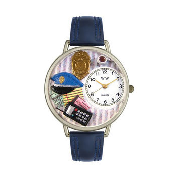 Whimsical Watches Designed Painted Police Officer Navy Blue Leather And Silvertone Watch