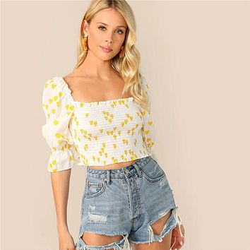 Heart Print Gathered Sleeve Shirred Crop Top Women Slim Fit White Square Neck Puff Flounce Sleeve Blouses