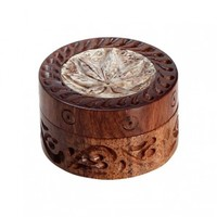 Rosewood Herb Grinder - Carved Soapstone Pot Leaf Lid - 2-part - 35mm wide - Herb Grinders - Smoking Accessories - Grasscity.com