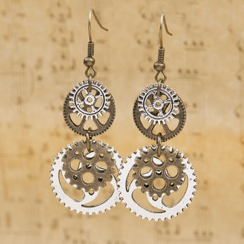 Steampunk Gear Vintage Earrings