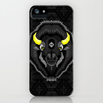 Geometric Bison iPhone & iPod Case by chobopop