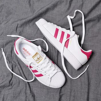 """""""Adidas"""" Superstar Shell toe White/Rose red Casual Sneakers"""