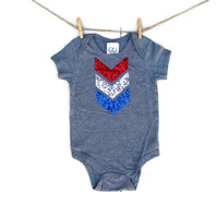 Red White and Blue Sequin Chevron Tee or Onesuit - 4th of July Kids