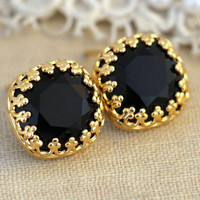 Black Gold Crystal Stud earrings, Swarovski Crystal stud earrings, Black and Gold Crystal earrings, gift for woman - Black  stud earrings