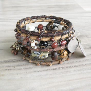Silk Road Gypsy Bangle Set - 6 Piece, Ashgabat, Bohemian Tribal Bracelets, Silk Wrapped and Beaded in Earthy Browns