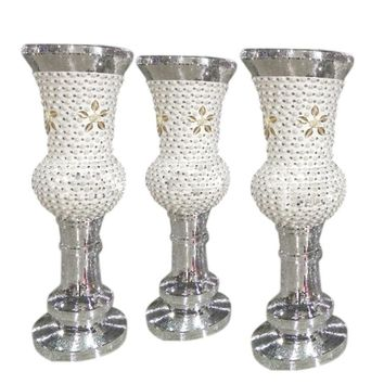 Diamonds and Pearl Studded Mosaic Mirror Floor Vase