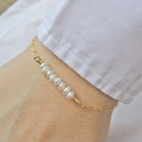 Pearl Bar Bracelet, Bridesmaid Gift, 14k Gold Fill or Sterling Silver, White Freshwater Pearl Bracelet, Dainty Pearl Bar, June's Birthstone