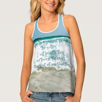 Through Waters, I will be with Thee Bible Verse Tank Top