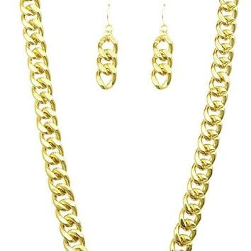 Chunky Hollow Link Id Chain  30  Necklace Earring Set