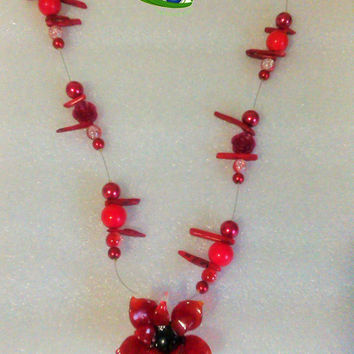 Necklace with Red Flower, Red Flower Glass, Red Beads Necklace, Glass Beads Necklace, Floating Necklace, Pendant Lampwork Necklace, Ceramic
