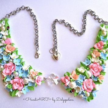 Gentle flower necklace - Handmade - Jewelry - Best gift - Roses - Lilac - Floral - Summer - Spring