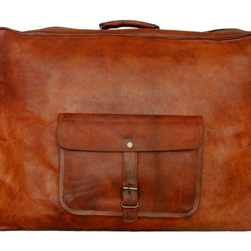 Traveling Leather LARGE LEATHER SUITCASE 22""