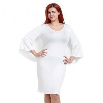 White Batwing Sleeve V Neck Solid Bodycon Plus Size Dress