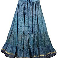 Mogul Womens Long Skirts Bellydance Vintage Sari Gypsy Flare Tiered Maxi Skirts