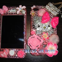 bling pink Hello Kitty iPhone 4 4s case made with Swarovski Diamond Crystal