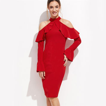 Party Long Sleeve Dress Red Open Shoulder