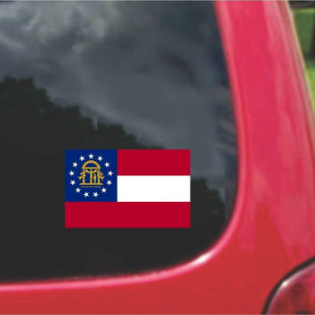 Georgia State Flag Vinyl Decal Sticker Full Color/Weather Proof.
