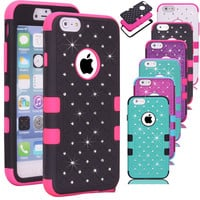 Heavy Duty Rugged Hybrid 3 In 1 Crystal Diamond Star Bling Armor Phone Case For iPhone 6 6S 7 Plus 5S SE Screen Protector Cover
