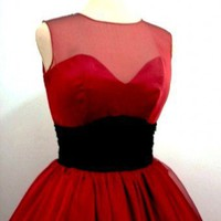 A 50s ruby red chiffon rock ability Cocktail dress Custom | Elegance50s - Clothing on ArtFire