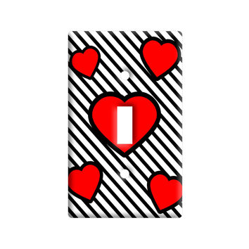 Love Cute Hearts Red Black Stripes Light Switch Plate Cover