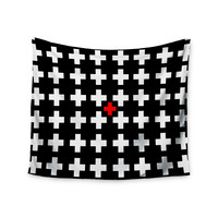 "Suzanne Carter ""Swiss Cross"" Black White Wall Tapestry"