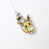 """Pokemon Eevee 1"""" Mini Acrylic Charm with Phone Strap (Double Sided Front & Back)"""