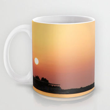 Art Coffee Cup Mug Sunset on the Beach Modern Photography home decor Java Lovers yellow orange peach pink purple tones ocean sea water