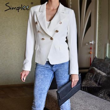 Simplee Autumn OL double breasted white blazer Women coat elegant slim suit blazer Black cool winter outwear short jacket