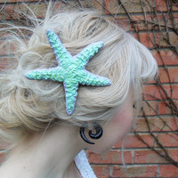 Cute Pastel Mermaid Starfish Hair Barrette Clip