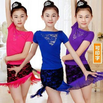 PEAPGC3 Lace Fringe Dance Skirt Girls Latin Dance Dress Children Dance Leotard Girl Dance Summer T-shirt
