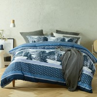Chalet Blue Lightly Quilted Quilt Cover Set OR Accessories by Bianca