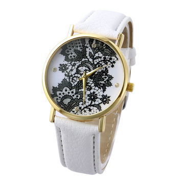 White Floral Lace Watch