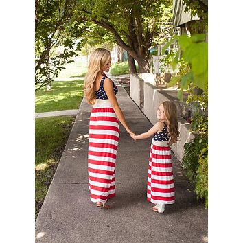 July 4th Mother And Daughter Dress American Flag Striped Mom And Me Outfits