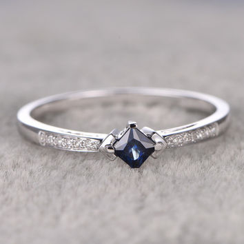 3.8mm Princess Cut Sapphire Engagement Ring Diamond Wedding Ring 14K White Gold Unique Design
