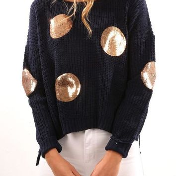 New Dark Blue Patchwork Sequin High-low Round Neck Long Sleeve Pullover Sweater
