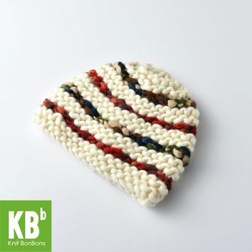 Hot Style Comfy Green Red Stitching Design Knit Yarn Warm Winter Hat Beanie for Women Men Girl Boy Hair accessories