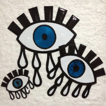 Eyeball Tattoo Biker Punk Embroidered Applique Sequins Iron On Patch Badge HUUS