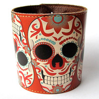 Leather cuff/ wallet wristband - Sugar skull tattoo design
