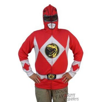 Power Rangers I Am Red Ranger Costume Zip Up Hoodie