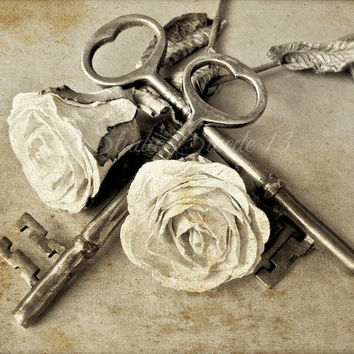 Romantic Photography, Still Life, French Country, Cottage, Old Keys, Vintage Keys, Shabby, Skeleton Keys, White Roses, Flowers