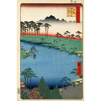 HIROSHIGE kumanojunisha shrine FINE ARTS poster 1856 24X36 Japanese painting