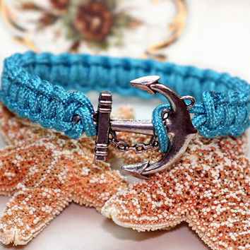 Anchor Bracelet Aqua Blue Turquoise Square Knot Cuff Style