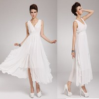Zehui Womens Candy Color Chiffon Solid Party Ball BOHO Sleeveless Beach Long Dress White UK12