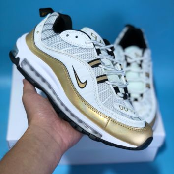 DCCK N601 Nike Air Max 98 Ratro Cushion Running Shoes White Gold