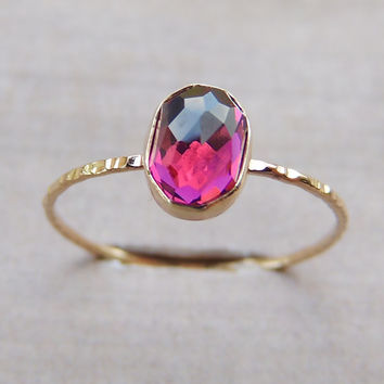 Rhodolite Garnet Gold Ring, Dainty Gold Ring, Rose Gold Ring, Stackable Ring, Rose Gold Ring, Yellow Gold Ring, Engagement Ring