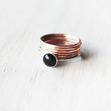 Rose Gold and Onyx Stacking Ring Set - valentine black hammered stack thin delicate sterling silver copper rings - minimalist jewelry