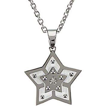 18 Inch Stainless Steel Diamond Star Necklace