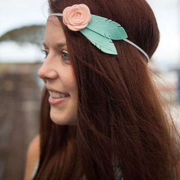 Felt Flower Headband - Mommy and Me - Feather Headband - Flower Headband Adult - Flower Crown Headband - Rose Headband - Mint and Peach